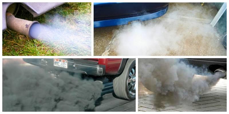 Синий дым из выхлопной трубы бензинового двигателя: причины, как убрать