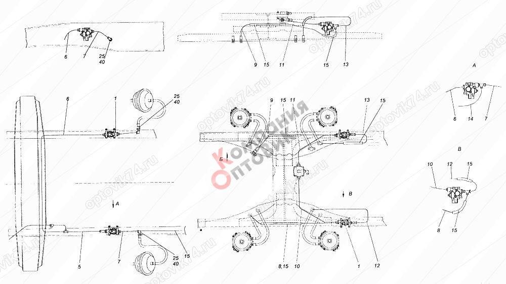 Камаз-55111 евро 1 – новый: тормозная система и электросхема, разрешенна максимальная масса