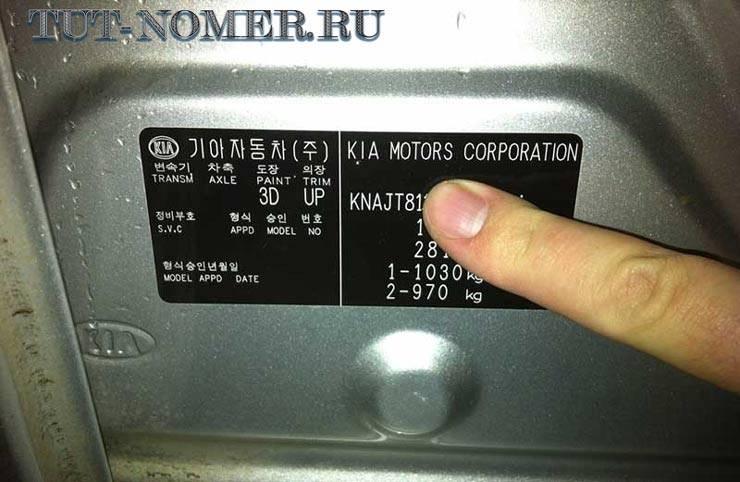 Расшифровка vin кода kia: комплектация и расположение кода