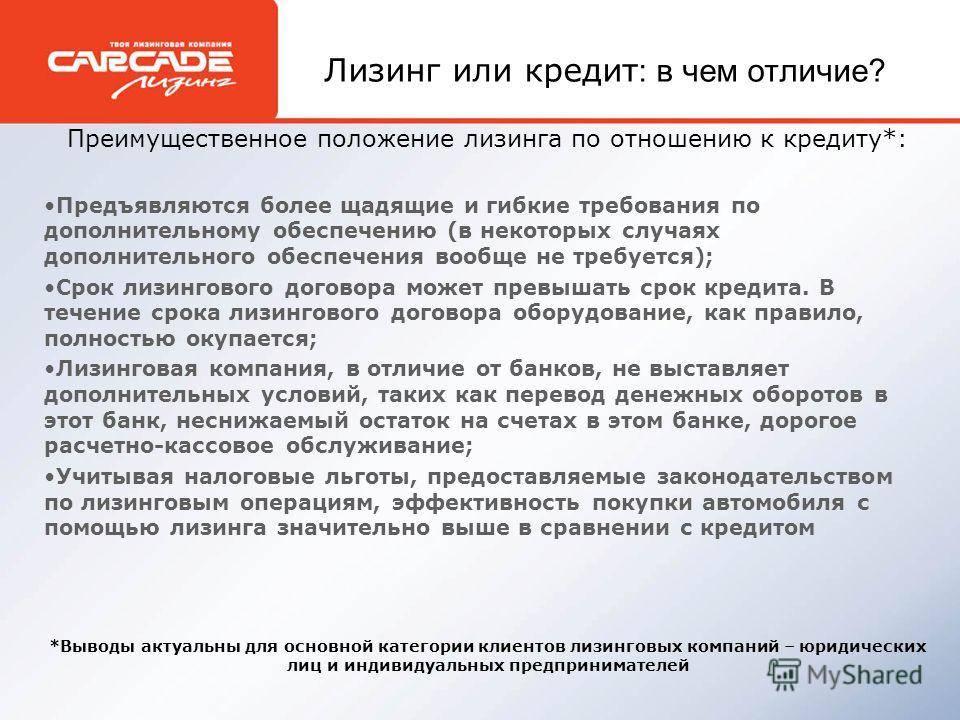 Лизинг или кредит: основные отличия и преимущества — finfex.ru