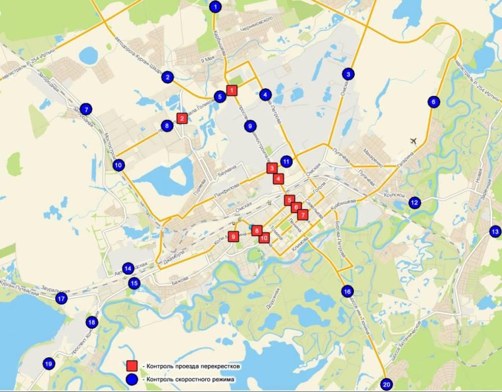 Карта радаров и камер видеофиксации в рязани