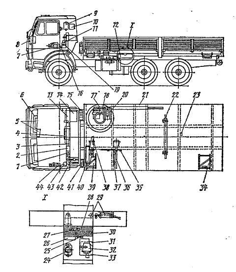 Пять контуров тормозной системы автомобилей камаз 5320 (4310)