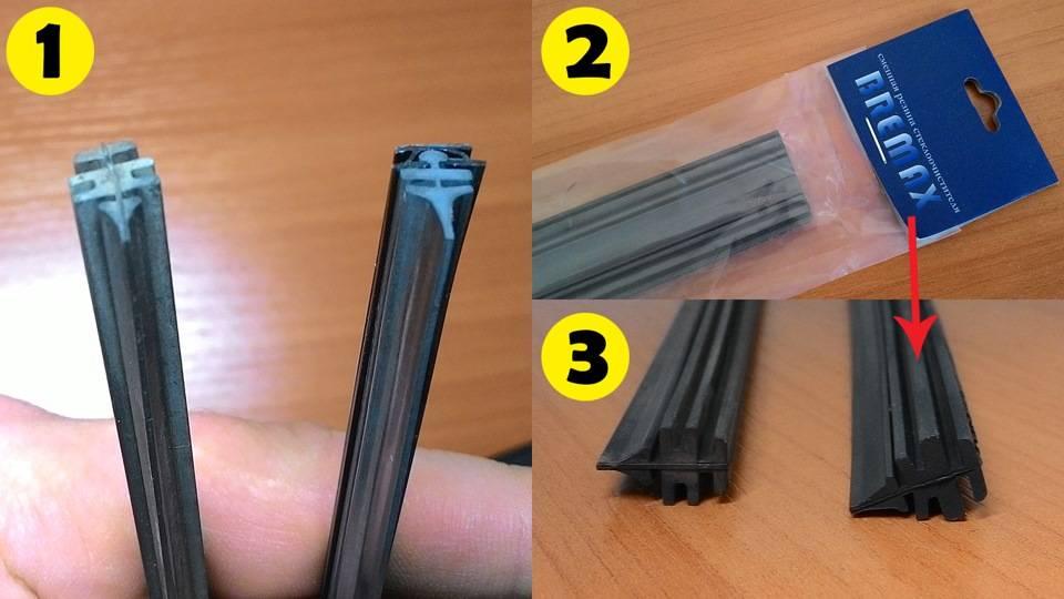 Замена резинок стеклоочистителя на дворниках автомобиля