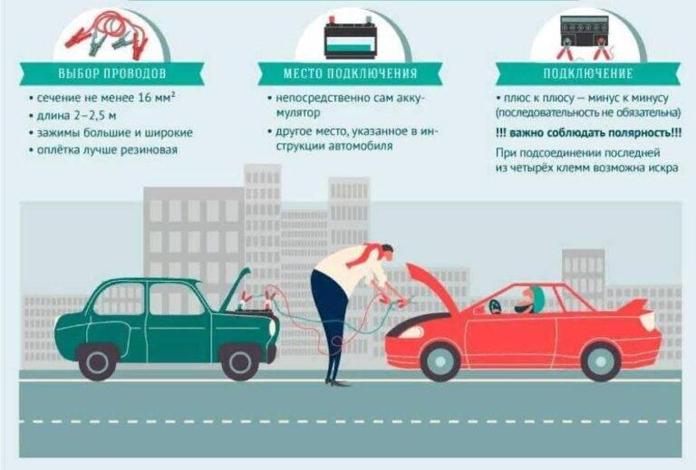 Как правильно прикурить авто – ошибки, параметры акб, схема и порядок подключения.