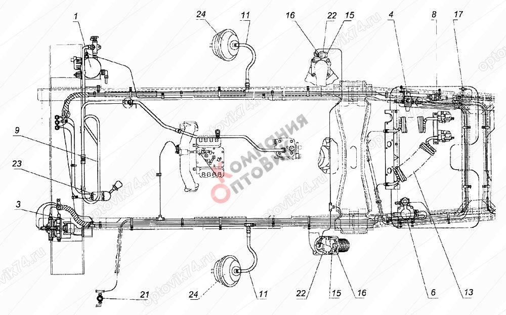 Система питания воздухом автомобиля камаз