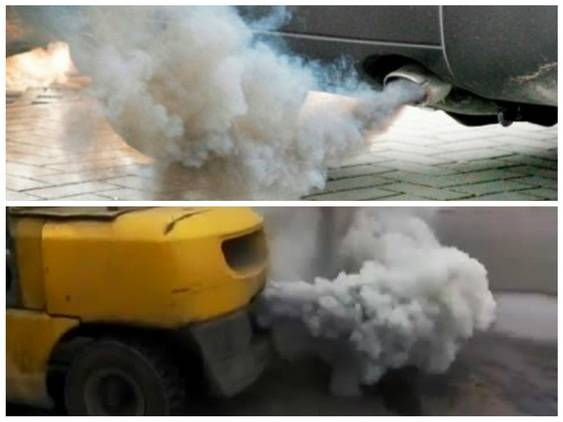Из выхлопной трубы идет белый дым на холодную, на горячую