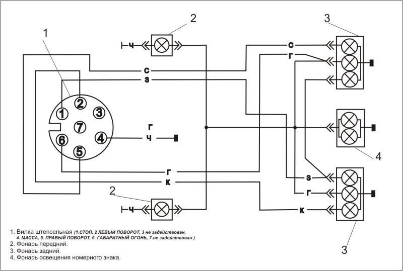 Электросхема прицепа легкового автомобиля 7 контактная