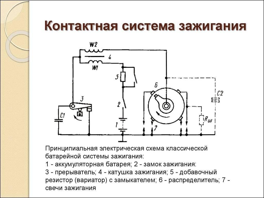 Контактные системы зажигания, устройство, принцип работы