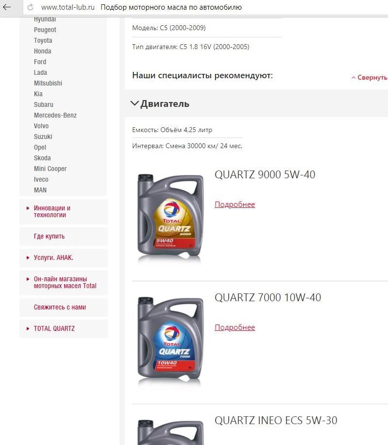 Подбор масла по марке автомобиля: онлайн сервисы
