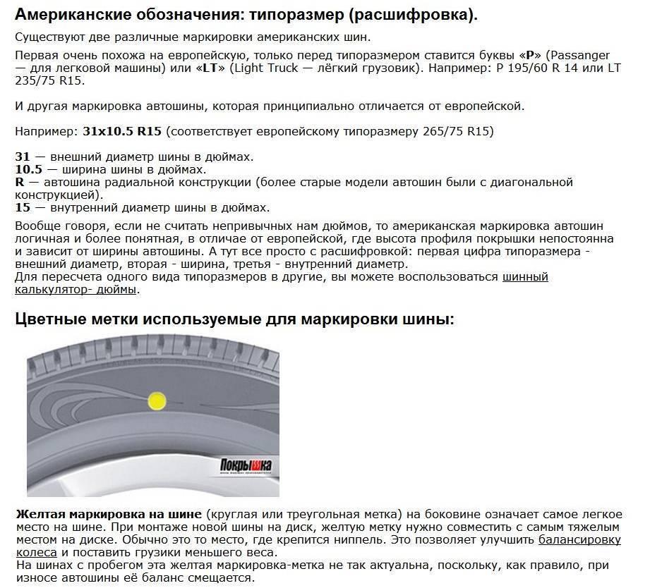 Расшифровка шинной маркировки: что нужно знать