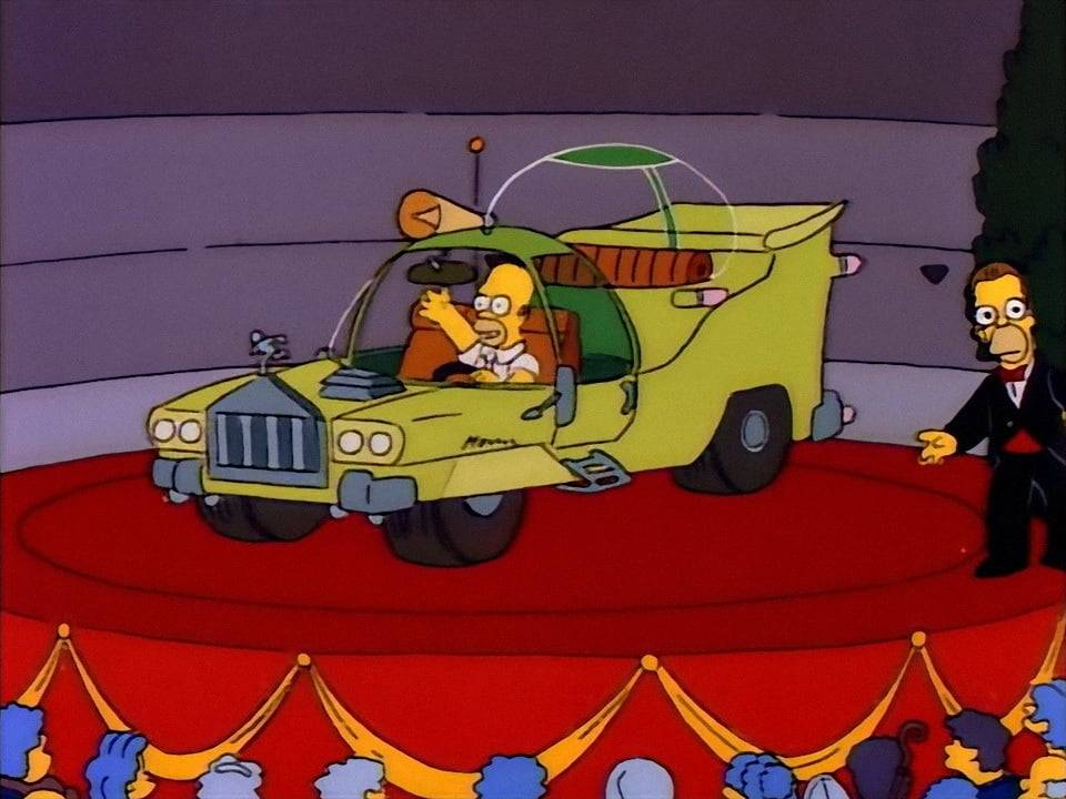Cимпсономания: пять жутких автомобилей, которые мог придумать только гомер симпсон. реальные прототипы машин из «симпсонов»&nbsp гомер симпсон сидит на машине